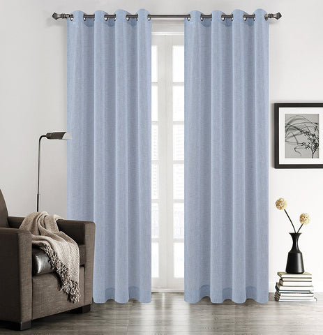 Chloe Set of 2 Faux Linen Sheer Drapery Curtain Panels with Grommets