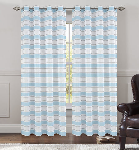 Deneuve Faux Linen Sheer Curtain Panels with Grommets - 4 Colors