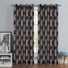 Paisley Set of 2 Faux Linen Sheer Drapery Curtain Panels with Grommets - 2 Colors
