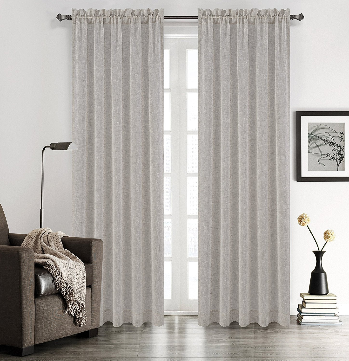 Chloe Set of 2 Faux Linen Sheer Drapery Curtain Panels - 5 Colors