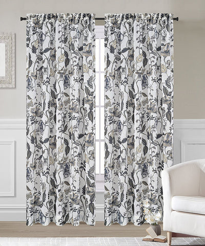 Flora Set of 2 Faux Linen Sheer Curtain Panels - 2 Colors