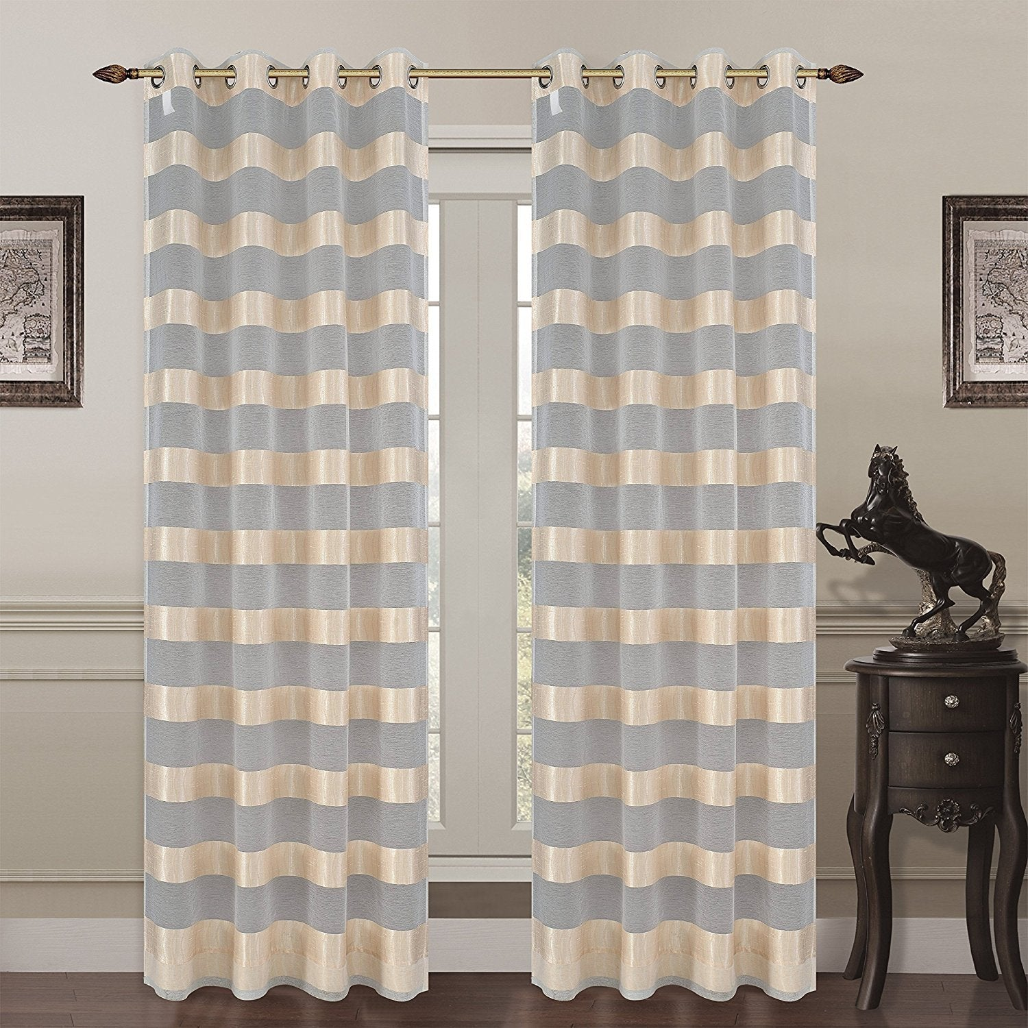 Monica Set of 2 Sheer Curtain Panels with Grommets - 3 Colors