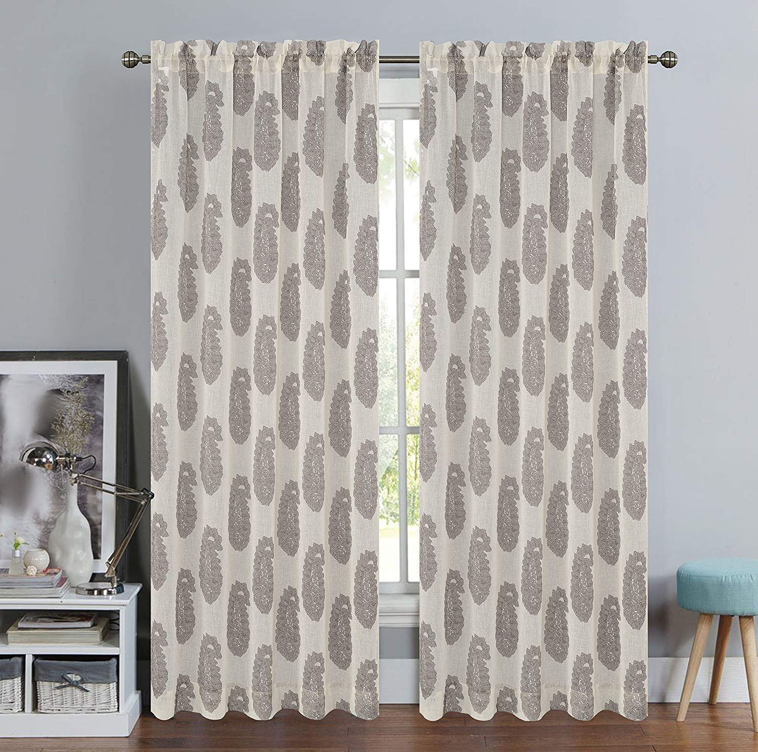Urbanest Paisley Set of 2 Faux Linen Sheer Curtain Panels