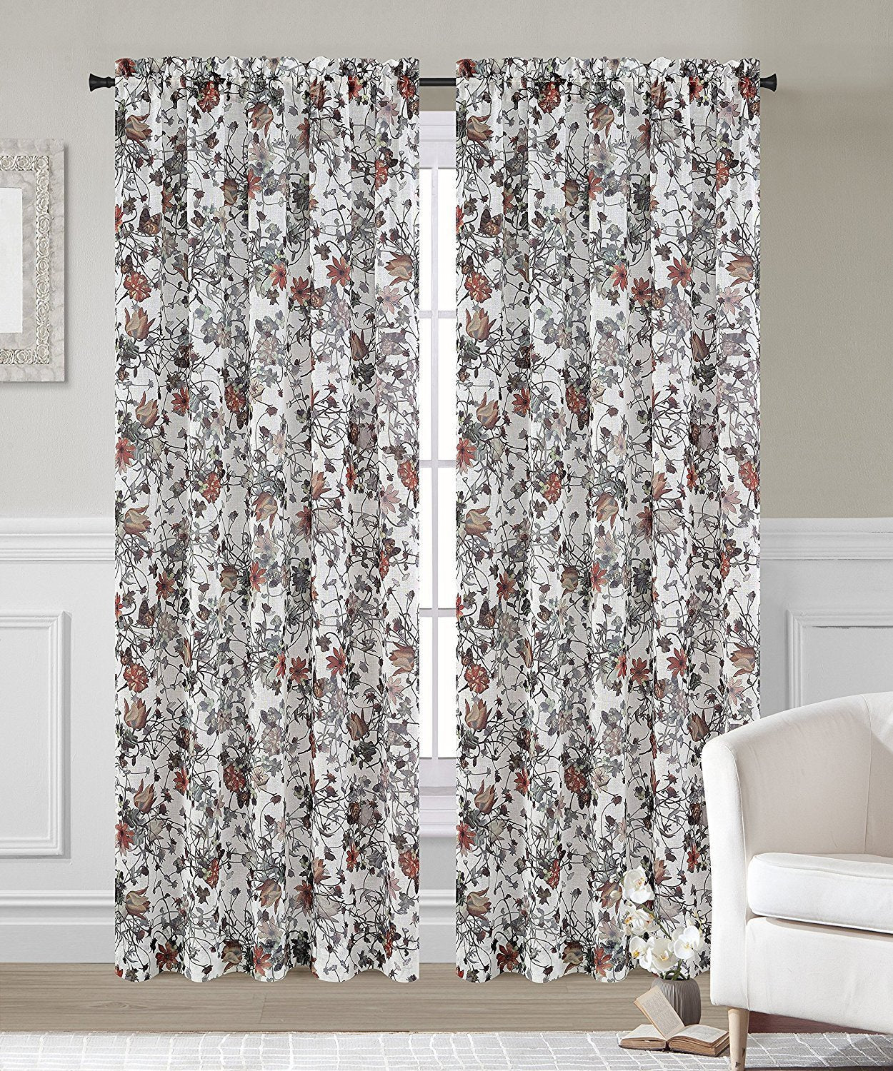 Garden Set of 2 Faux Linen Sheer Curtain Panels