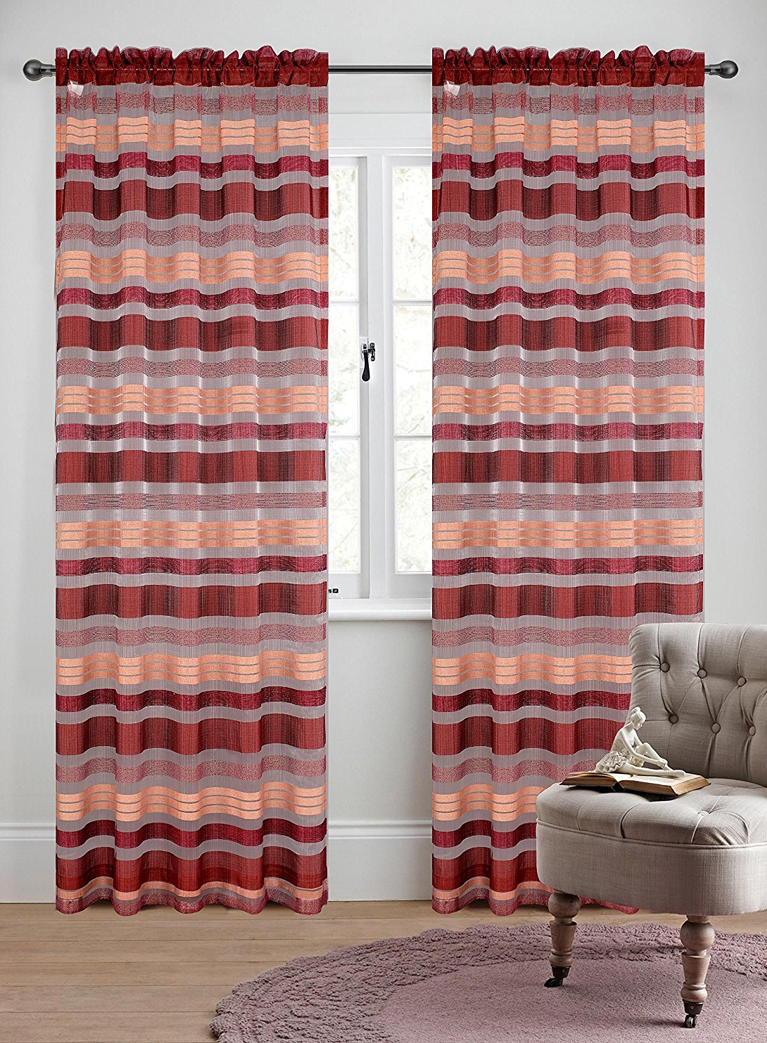 Becca Set of 2 Sheer Curtain Panels - 5 Colors