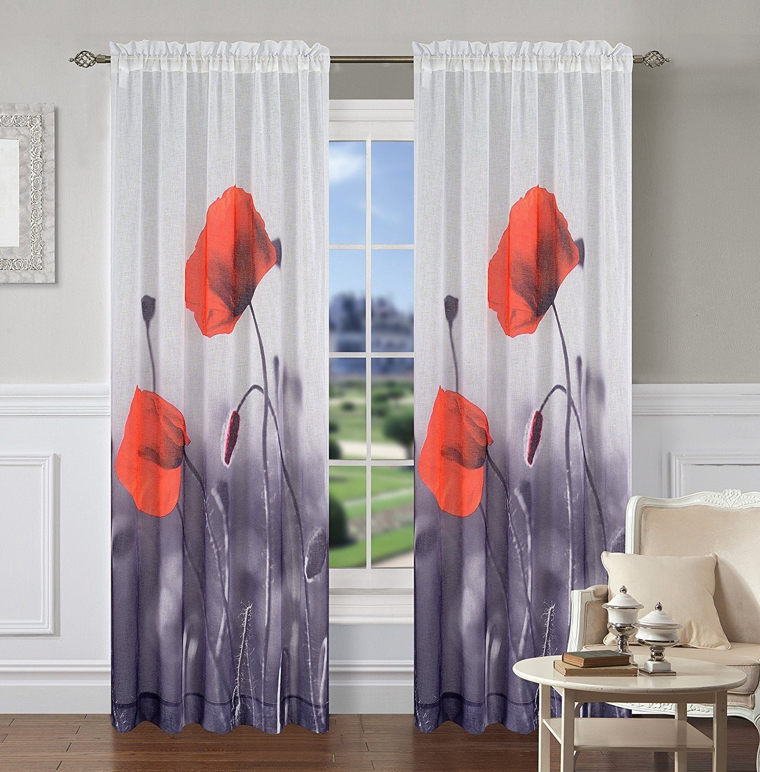 Poppy Set of 2 Sheer Art Drapery Curtain Panels