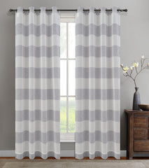 Set of 2 Nassau Faux Linen Sheer Striped Curtain Panels with Grommets - 7 Colors