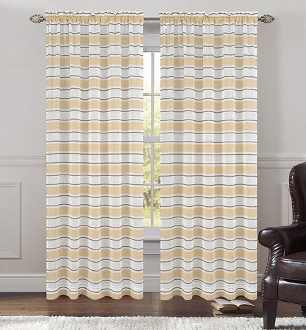 Deneuve Set of 2 Faux Linen Sheer Curtain Panels - 4 Colors