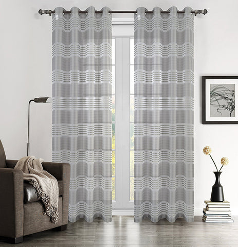 Addie Set of 2 Sheer Curtain Drapery Panels with Grommets - 2 Colors