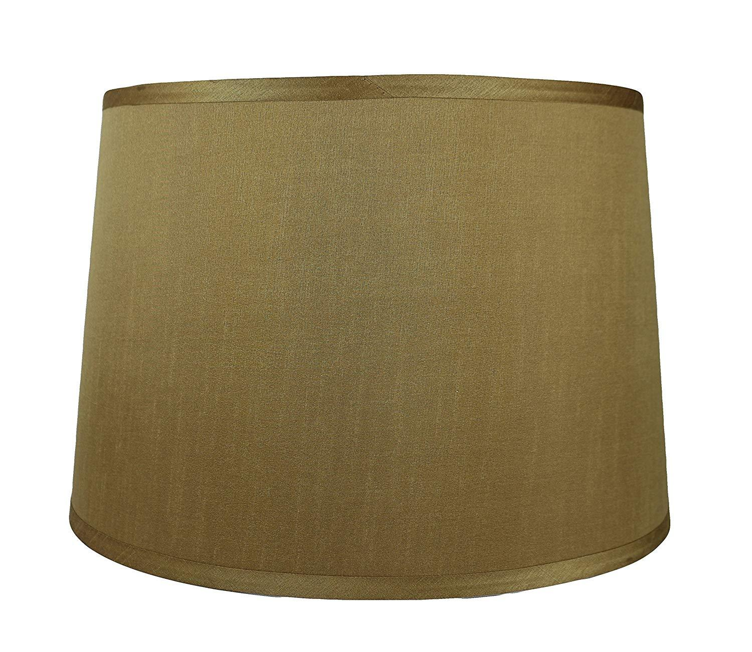 French Drum Lampshade, Faux Silk, 12-inch by 14-inch by 10-inch, Spider Washer Fitter