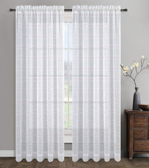 Set of 2 Chamon Sheer Curtain Drapery Panels - 5 Colors