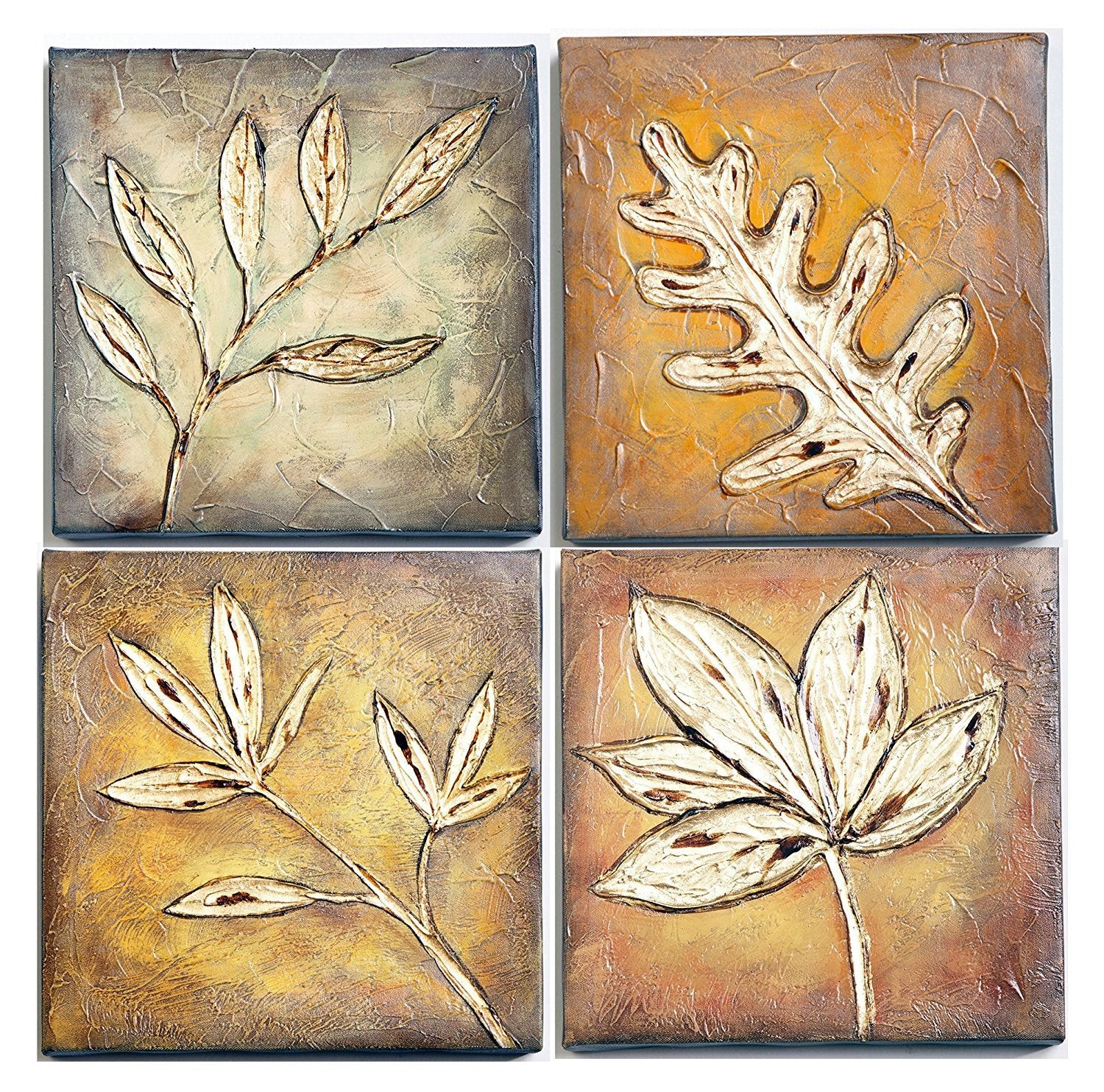 Framed Streched Leaf Collage Oil Painting, Set of 4