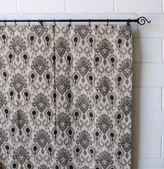 Ikat Fabric Print Linen Designer Drapery Curtain Panels(two Panels), Gray, Unlined