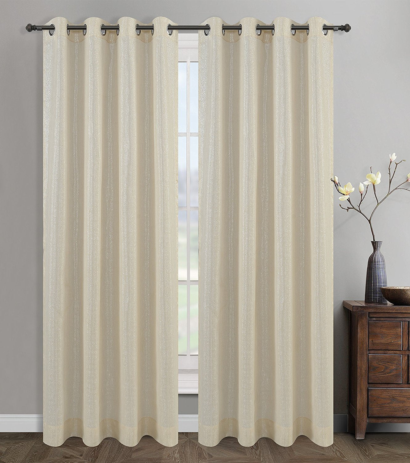 Cosmo Set of 2 Sheer Curtain Drapery Panels with Grommets - 4 Colors