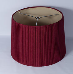 "Faux Silk Box Pleated Drum Lampshade, 10x12x8.5"", Burgundy, Spider Fitter"