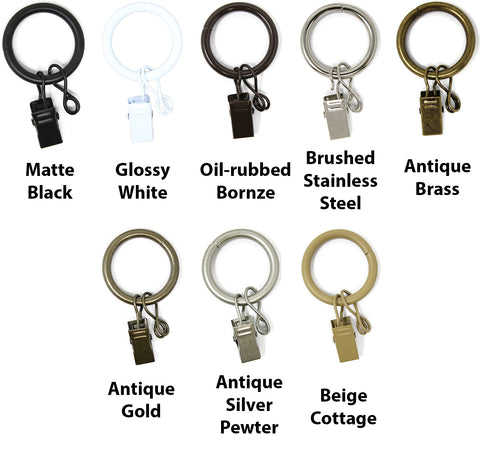 1-inch Metal Curtain Drapery Rings with Clips and Eyelets, 7 Finishes
