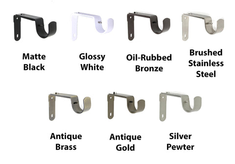 "1 1/4"" Adjustable Curtain Rod Bracket - 7 Finishes"