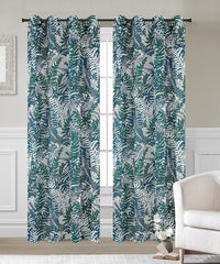 Palm Set of 2 Faux Linen Sheer Curtain Panels with Grommets - 2 Colors