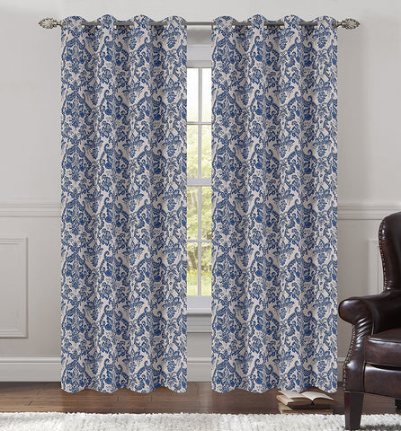 Jacquard Fern Set of 2 Curtain Panels with Grommets - 4 Colors