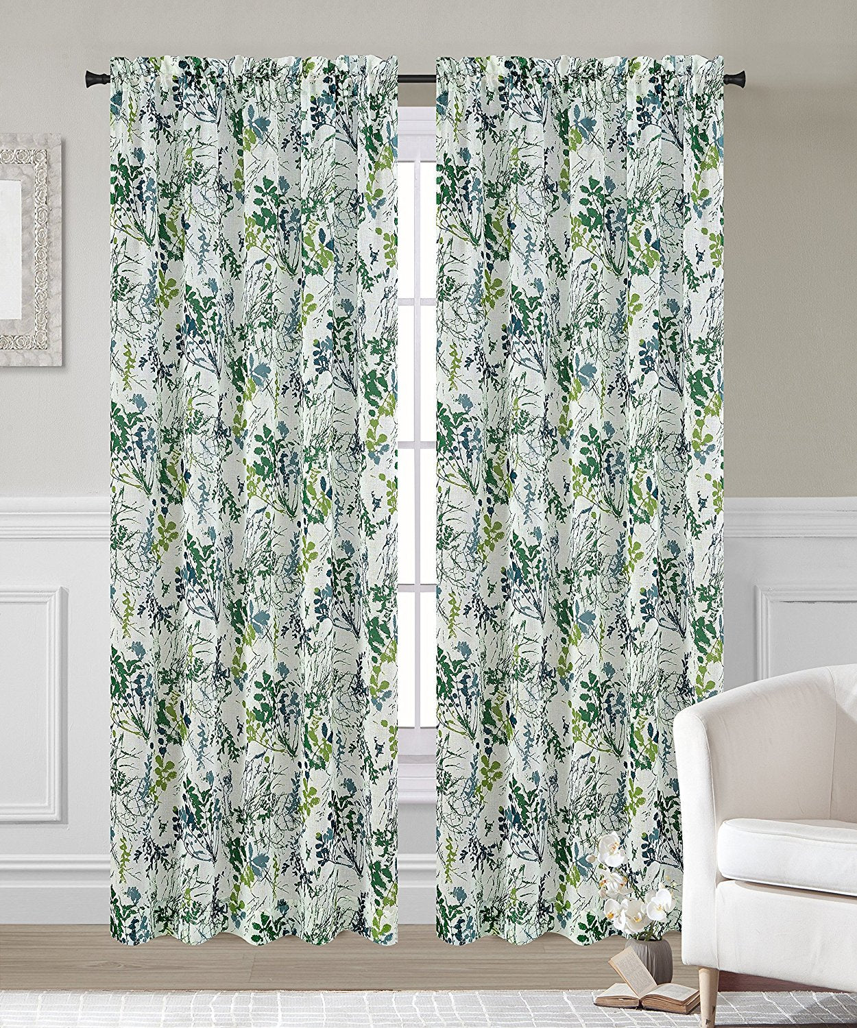Set of 2 Fauna Faux Linen Sheer Curtain Panels