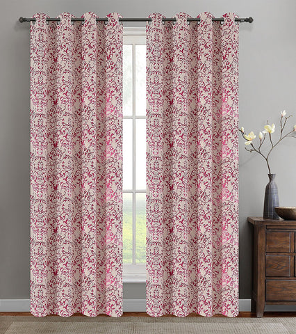 Jacquard Vine Drapery Curtain Panels with Grommets - 4 Colors