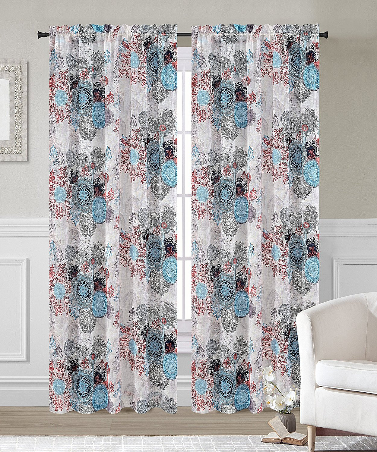 Greenwich Set of 2 Faux Linen Sheer Curtain Panels