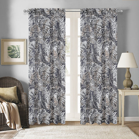 Palm Set of 2 Faux Linen Sheer Curtain Panels - 2 Colors
