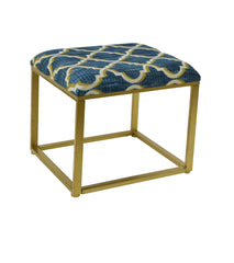Blake Metal and Fabric Cushioned Ottoman, 21-inch Tall