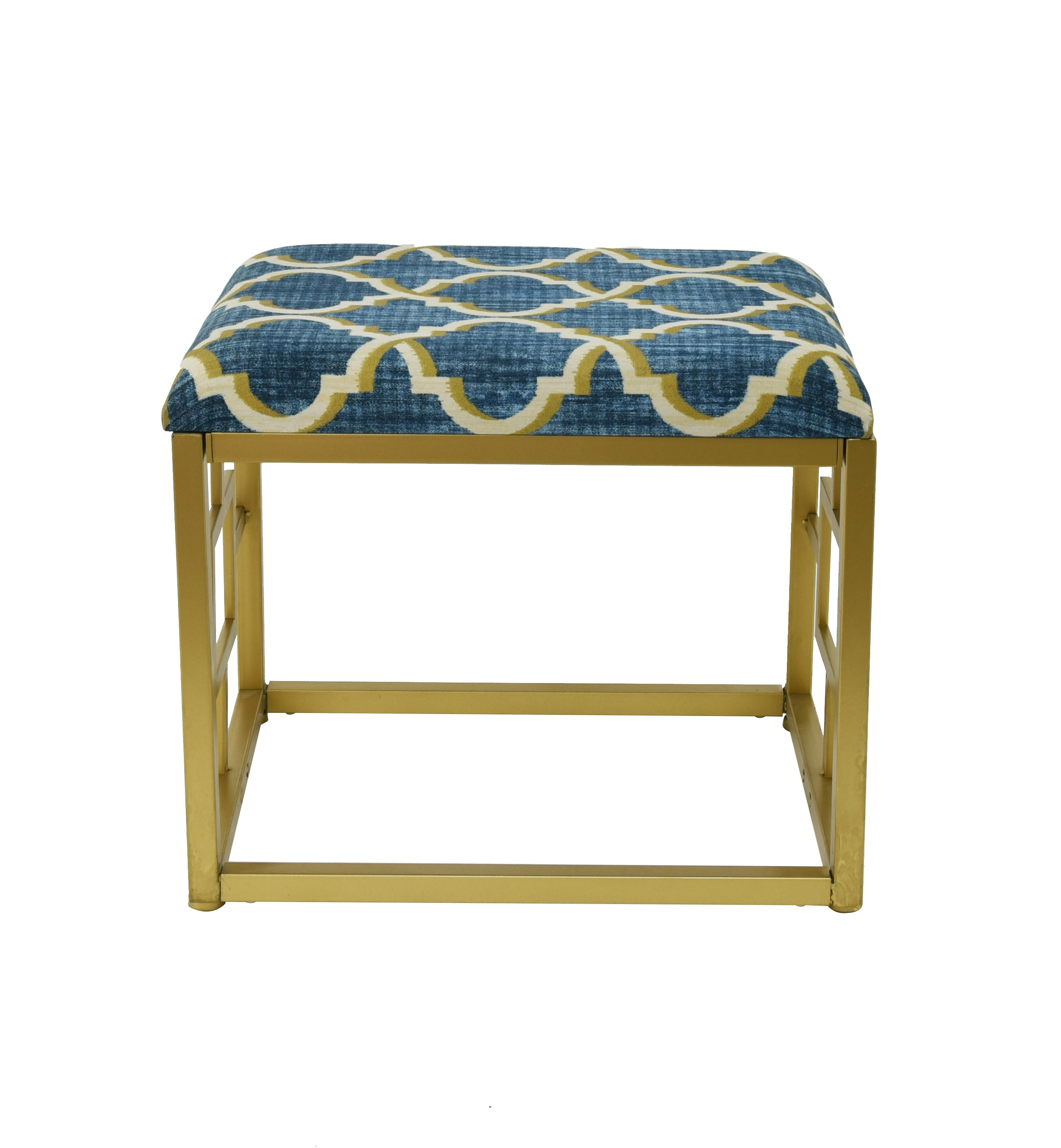 Marvelous Lauren Metal And Fabric Cushioned Ottoman 18 Inch Tall Dailytribune Chair Design For Home Dailytribuneorg