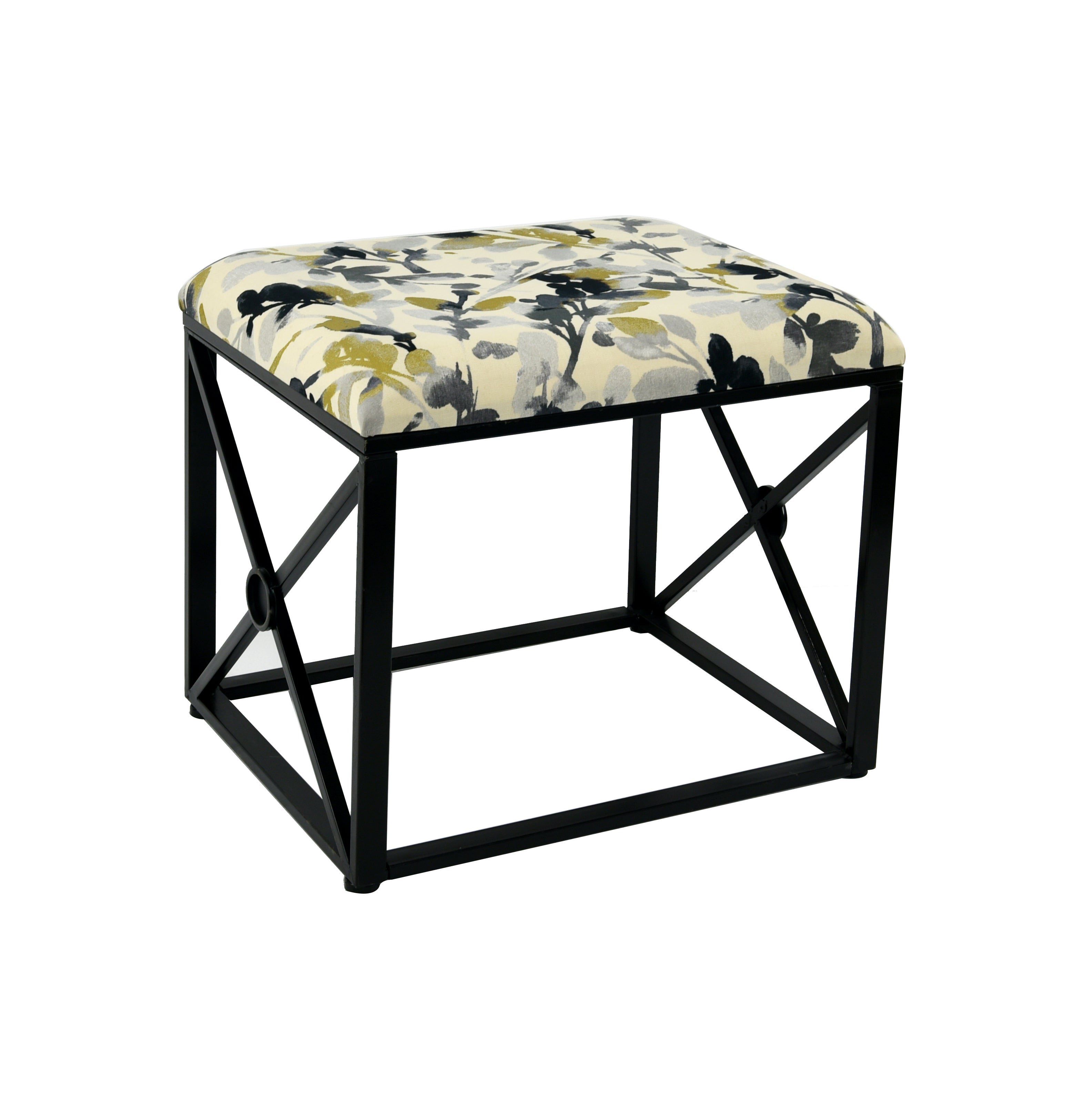 Vanderbilt Metal and Fabric Cushioned Ottoman, 19 1/2-inch Tall