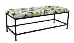 Bamboo Upholstered Metal Bench, 19 1/2-inch Tall