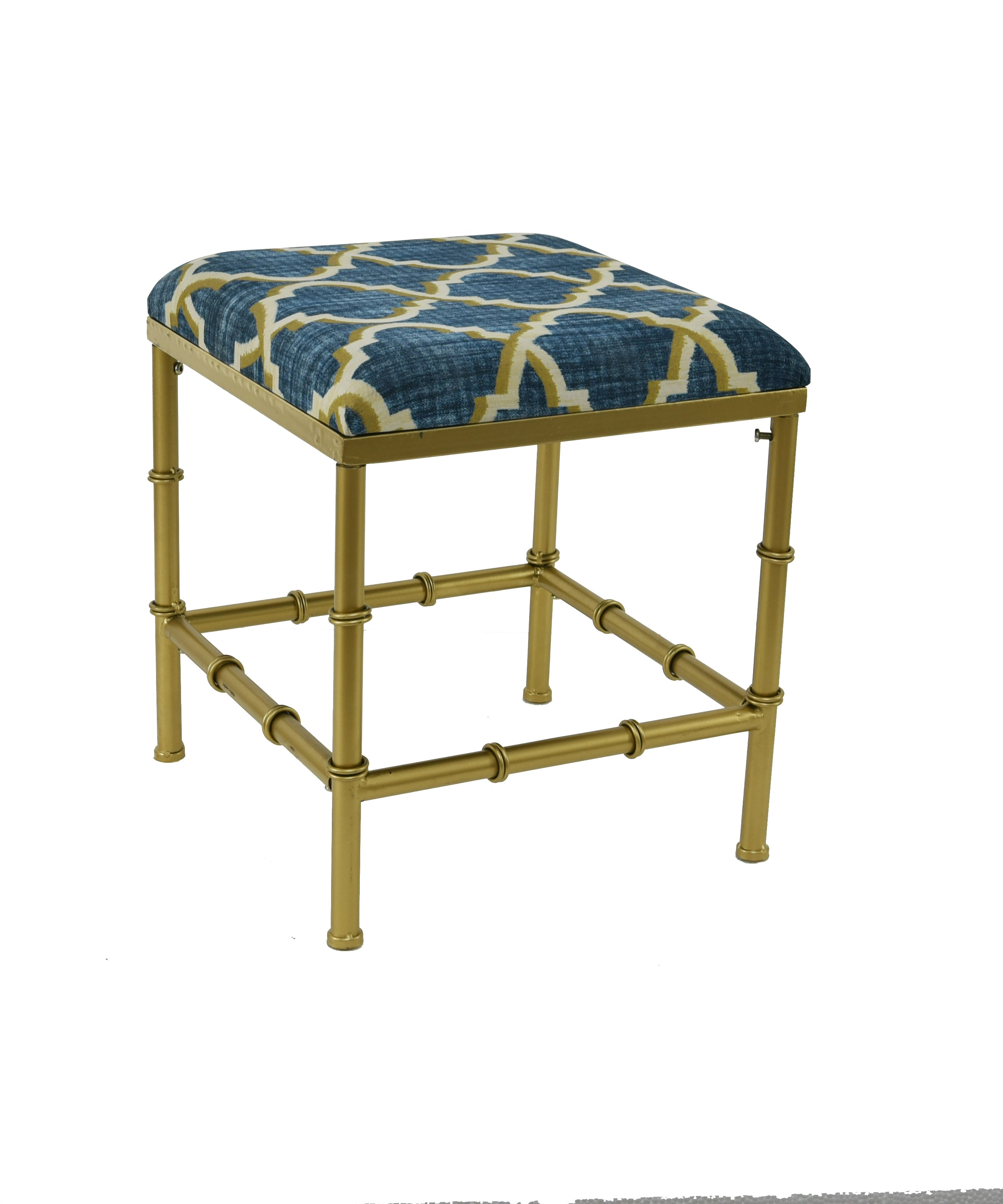 Bamboo Metal and Fabric Cushioned Ottoman, 21-inch Tall