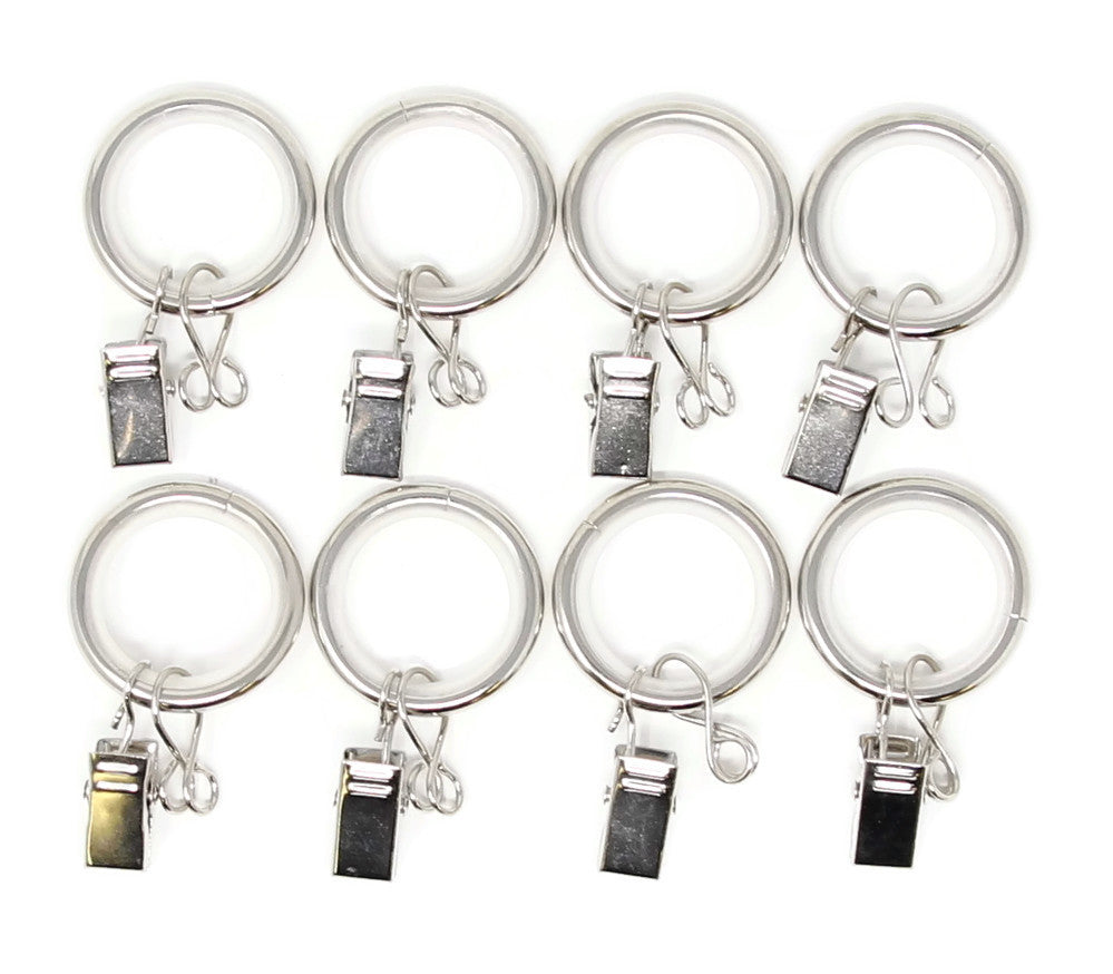 Urbanest 1-inch Metal Curtain Rings with Clips, Eyelets and Nylon Inserts Quiet Smooth (Set of 8), Fits up to 3/4 Inch Rod, Glossy White
