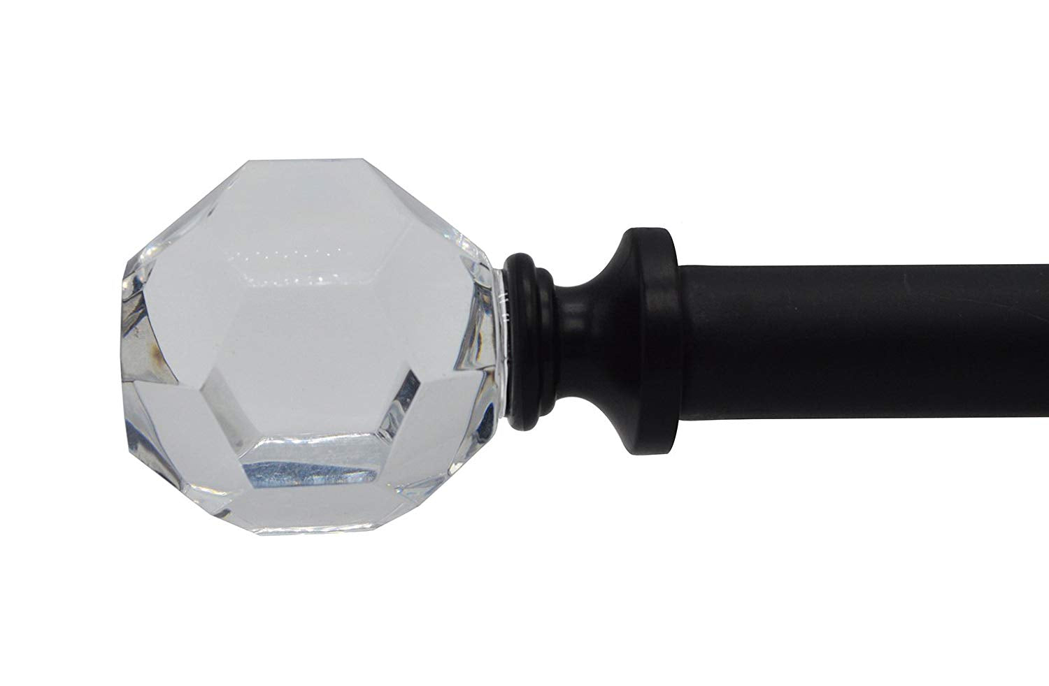 Decorative Cut Crystal Curtain Rod, 5/8-inch diameter, Black