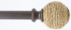 "Natural Jute Ball 1"" Diameter Curtain Rod"