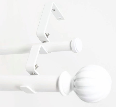 "Urbanest Fluted Ball Manhattan 1"" 5/8"" Double Drapery Curtain Window Rod Set"