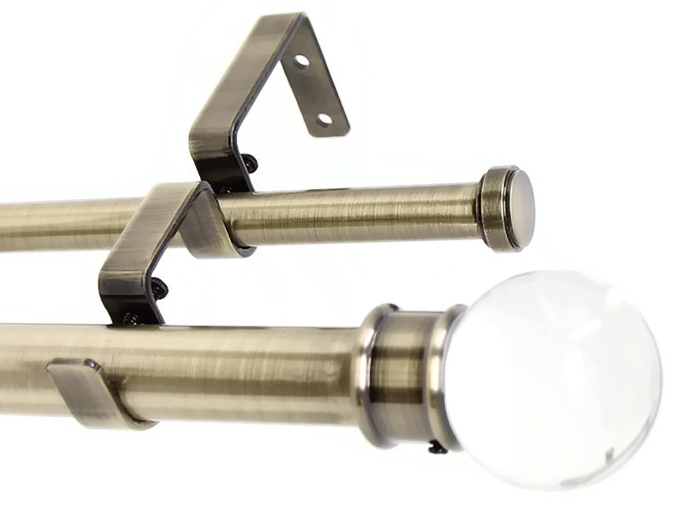 "Urbanest Crystal Ball Manhattan 1"" 5/8"" Double Drapery Curtain Window Rod Set"