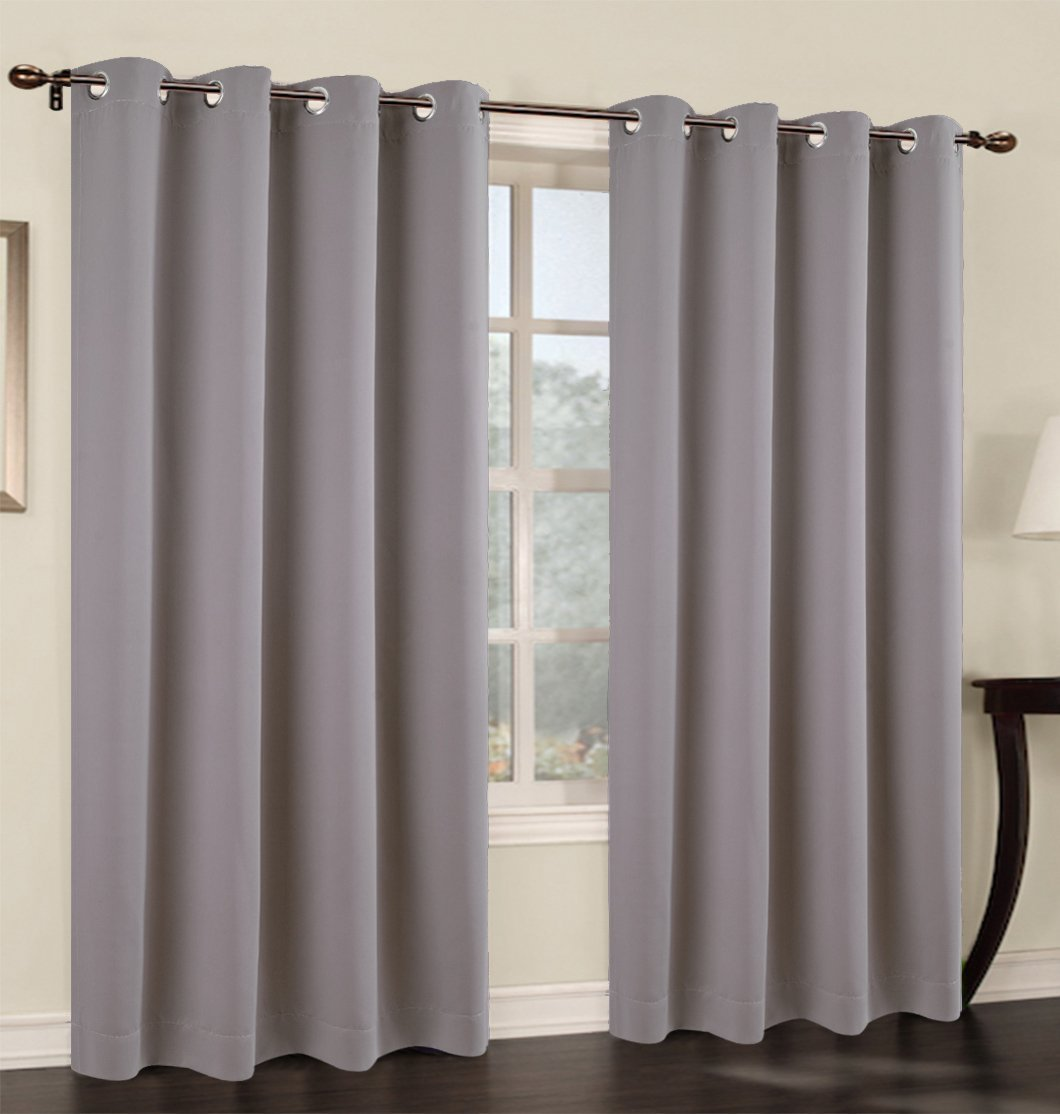 Set of 2 Blackout Curtain Panels with Grommets - 7 Colors
