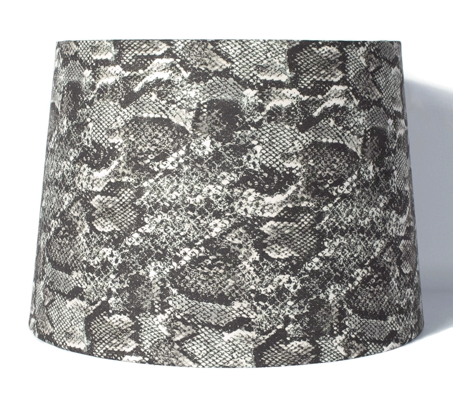 Snakeskin Fabric Drum Lampshade, Spider Fitter