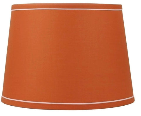 French Drum With White Trim 12-inch By 14-inch By 10-inch Lampshade