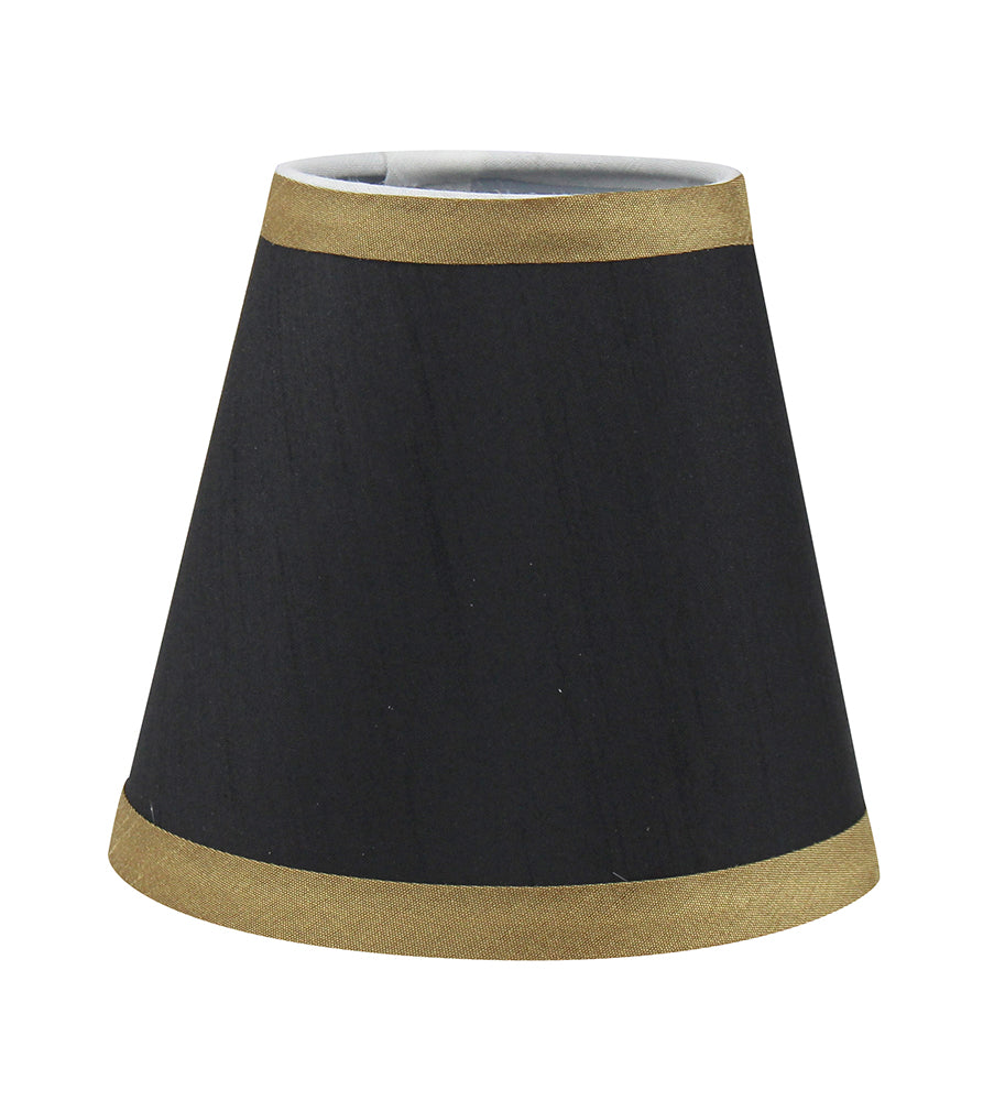 Silk 5-inch Chandelier Lamp Shade with Gold Trim - 5 Colors