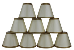 Silk 6-inch Chandelier Lamp Shade with Gold Trim - 5 Colors