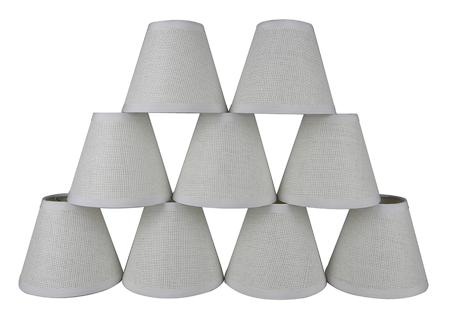 "Woven Paper White Chandelier Lamp Shades - 5"" & 6"" Sizes"