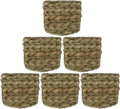 Natural Woven Seagrass Chandelier Drum Lamp Shades, Clip-on, 6-inch by 6-inch by 4 1/2-inch