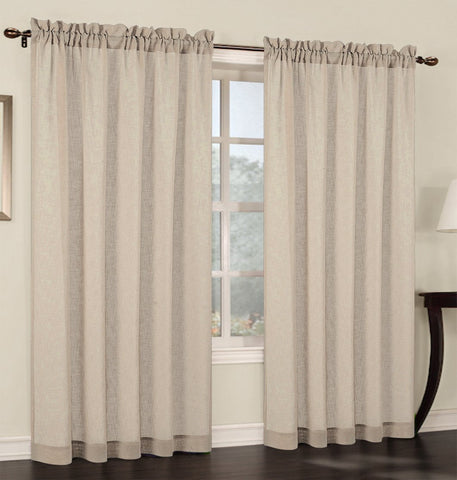 Set of 2 Faux Linen Sheer Curtain Panels - 6 Colors
