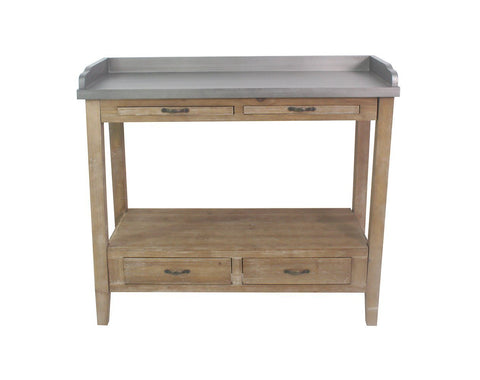 Hunter Bar Cart and Kitchen Prep Station, 32-inch Tall, Gray with Natural Wood