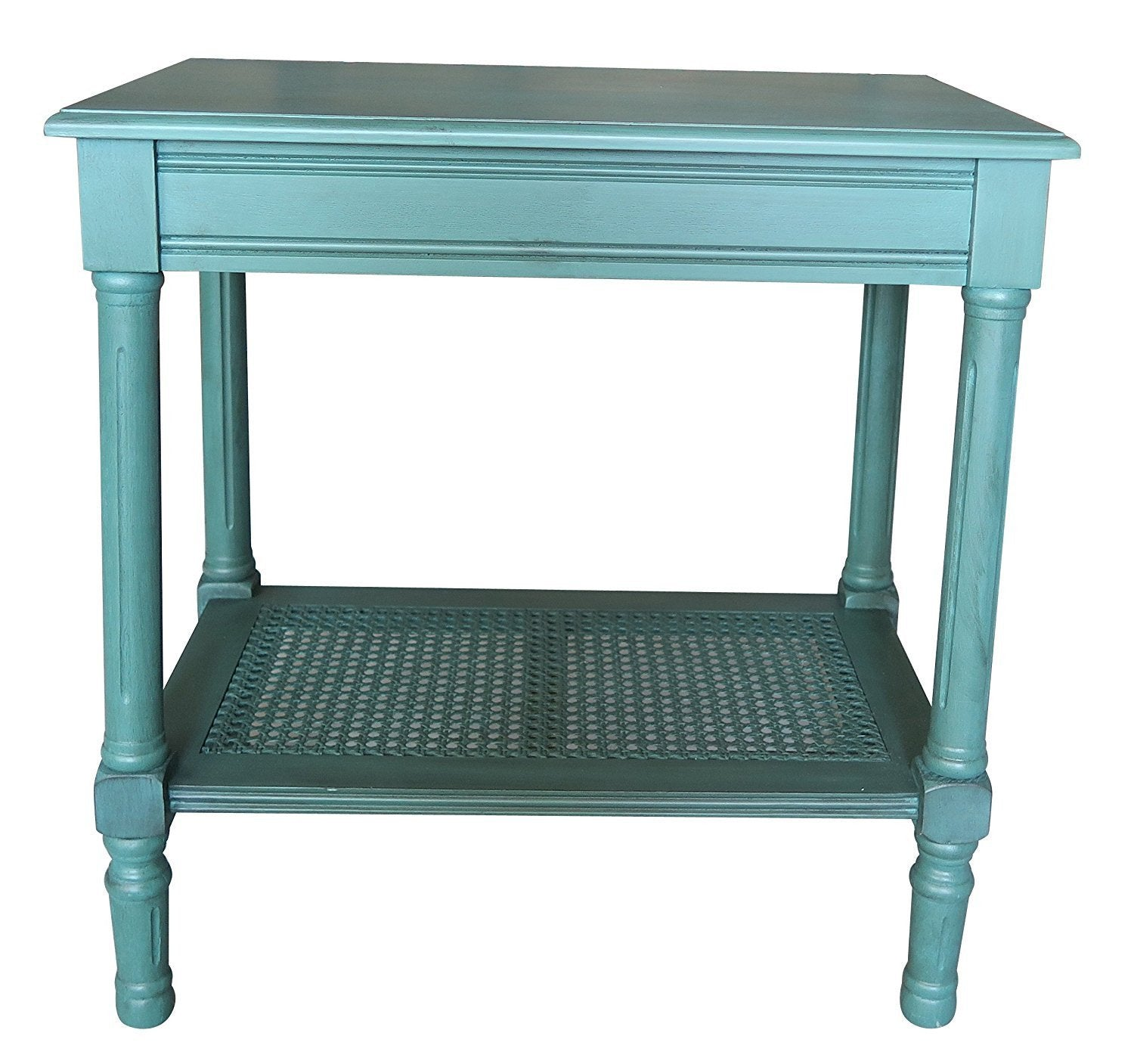 Jamestown Side Table with Rattan Shelf - 6 Finishes