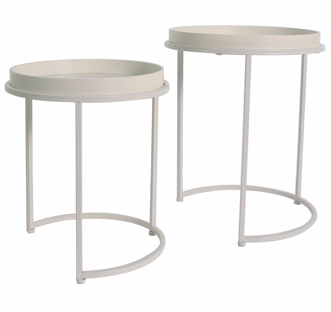 Whitney Set Of 2 Metal U0026 Wood Nesting Tables