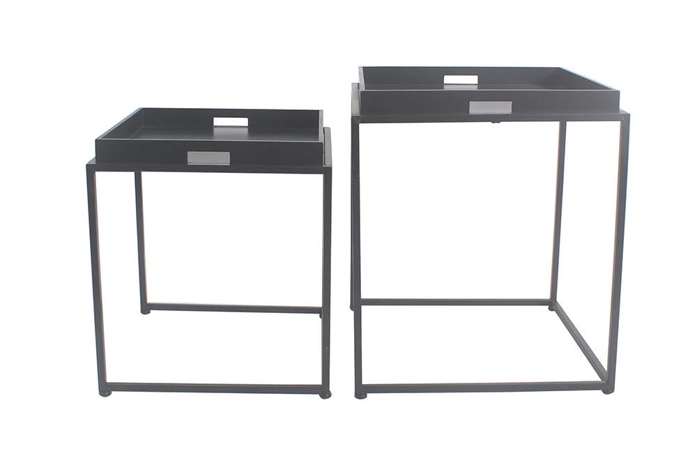 Brooklyn Set of 2 Metal & Wood Nesting Tables - 2 Finishes