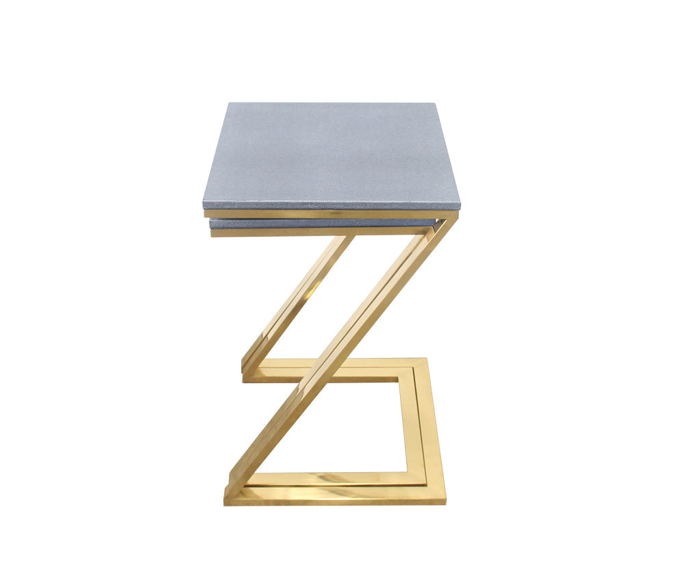 Urbanest Walter Z-Leg Set of 2 Nesting Tables, Faux Shagreen in Gray with Gold Metal, 22 1/2-inch and 21-inch Tall Tables